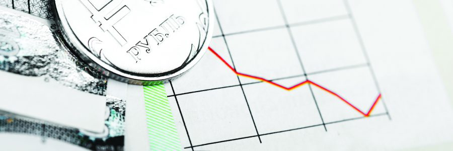 Курс рубля на международных биржах, падающий график