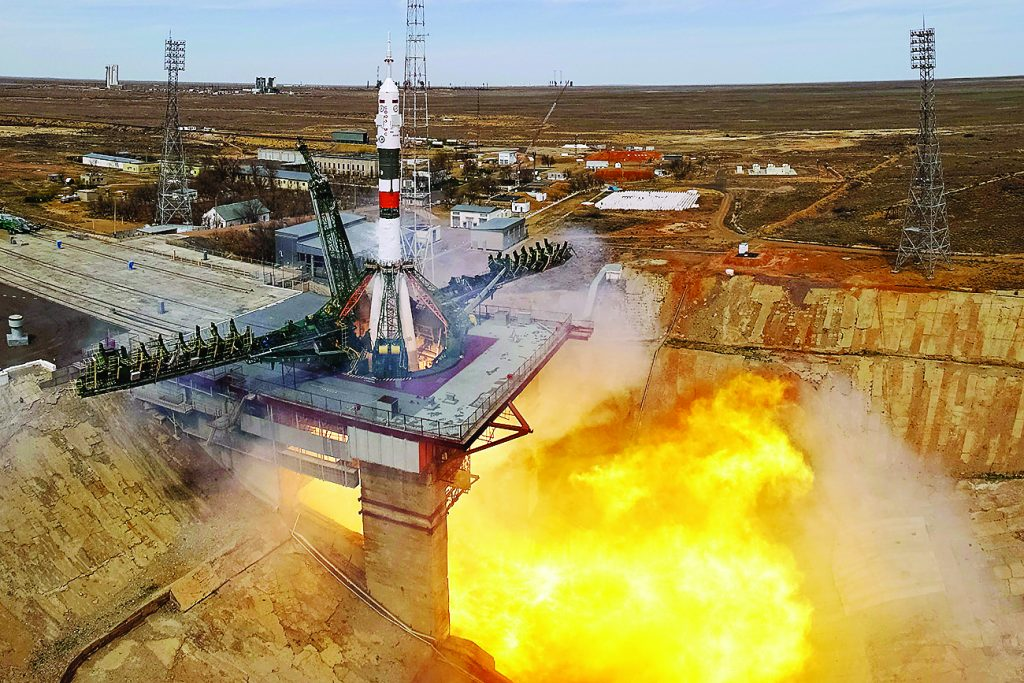 The Soyuz MS-04 spacecraft carrying the crew of Jack Fischer of the U.S. and Fyodor Yurchikhin of Russia blasts off to the International Space Station (ISS) from the launchpad at the Baikonur Cosmodrome, Kazakhstan April 20, 2017. REUTERS/Shamil Zhumatov - RTS1348R