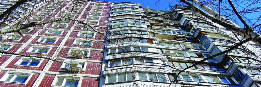 Семнадцатиэтажный четырёхподъездный панельный жилой дом серии П-44 (построен в 1988 году). Улица Пришвина, 23. Район Бибирево. Город Москва