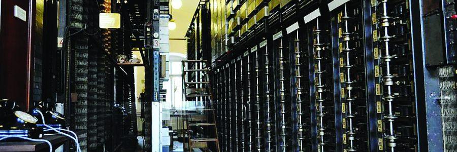 Коммутационное оборудование АТС в здании телефонного узла.