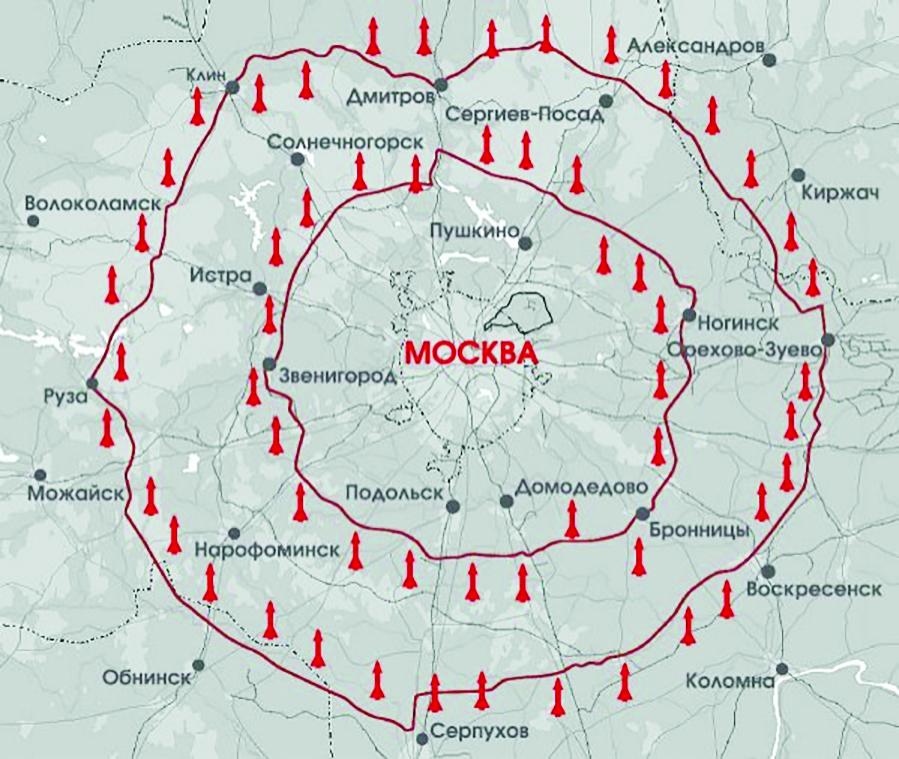 Внутреннее и внешнее кольцо московской зоны ПВО обслуживались двумя бетонными транспортными кольцами.